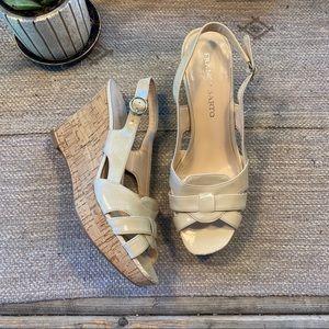 Franco Sarto nude cork wedge sandals size 9